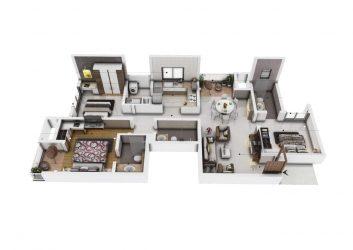 sobha nesara premium luxurious homes kothrud pune - 3 BHK NESARA scaled - Sobha Nesara Premium Luxurious 3, 3.5 & 4.5 BHK apartments in Kothrud, Chandani Chowk